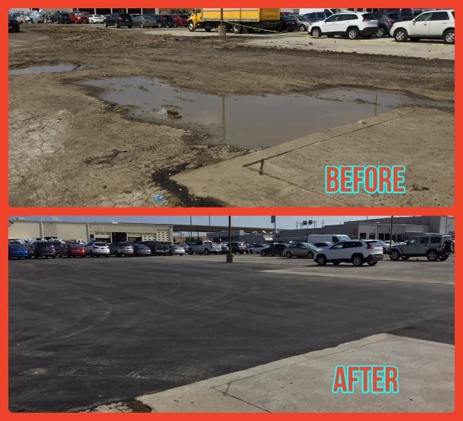 Car dealership asphalt repair job in Dallas texas