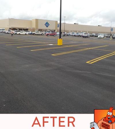 Asphalt Parking Lot total new construction for store front property.