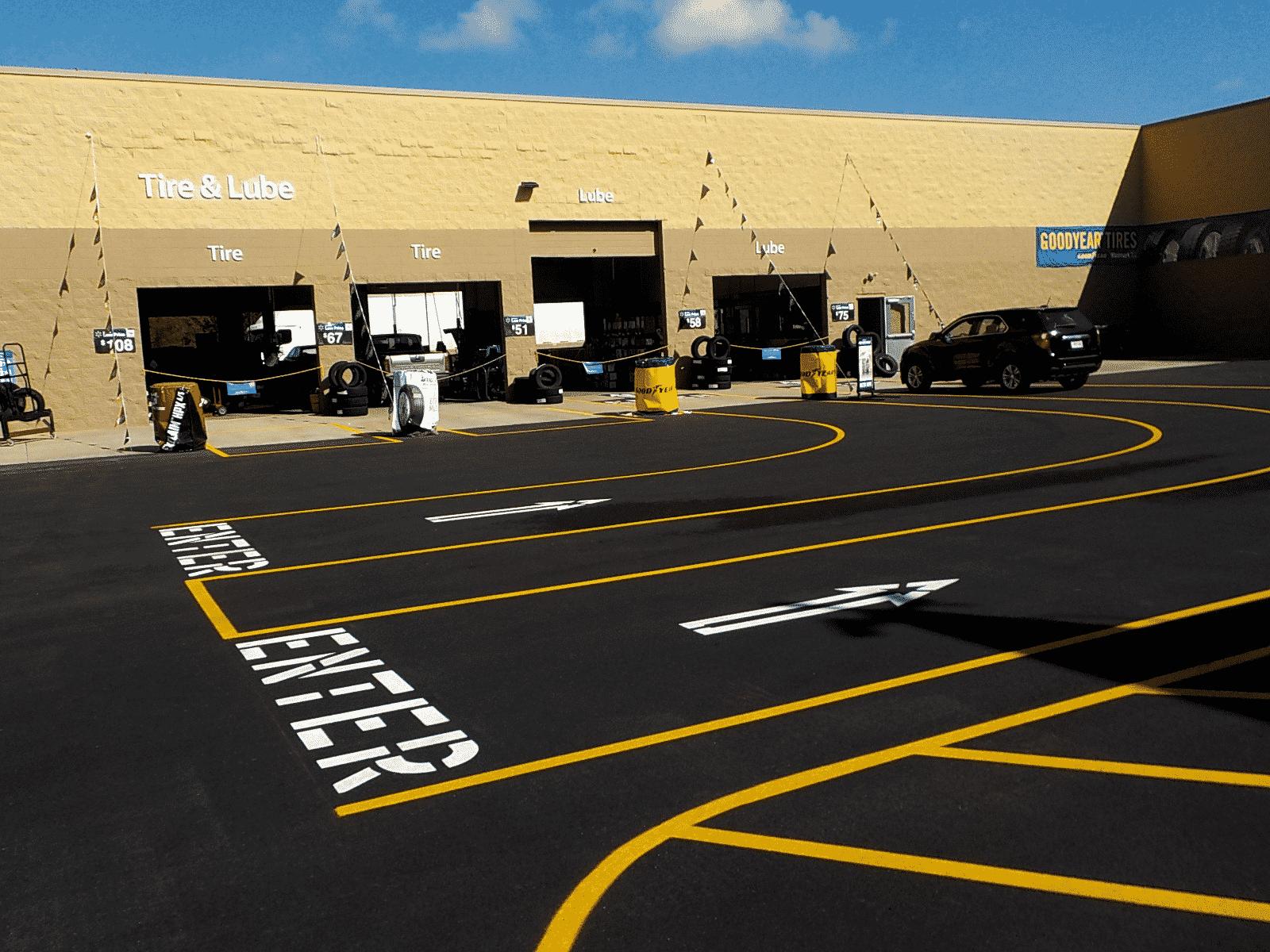 Asphalt striping retail.